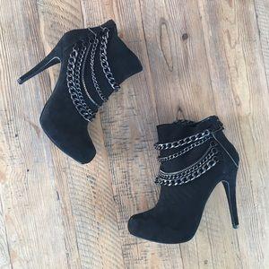 MICHAEL Chain Detail Stiletto Heel Booties Black